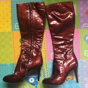 Sergio Rossi wine color patent leather long boots